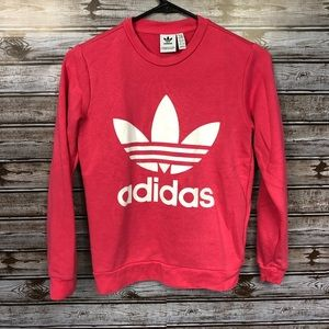 adidas Girls Youth Pink Leaf Line Logo Sweatshirt